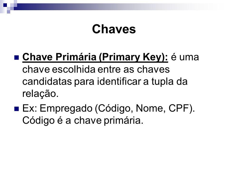 Chaves Chave Primária (Primary Key): é uma chave escolhida entre as chaves candidatas para identificar a tupla da relação.