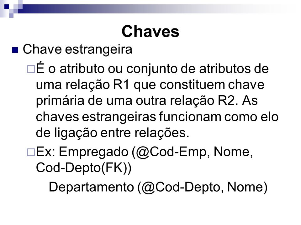 Chaves Chave estrangeira