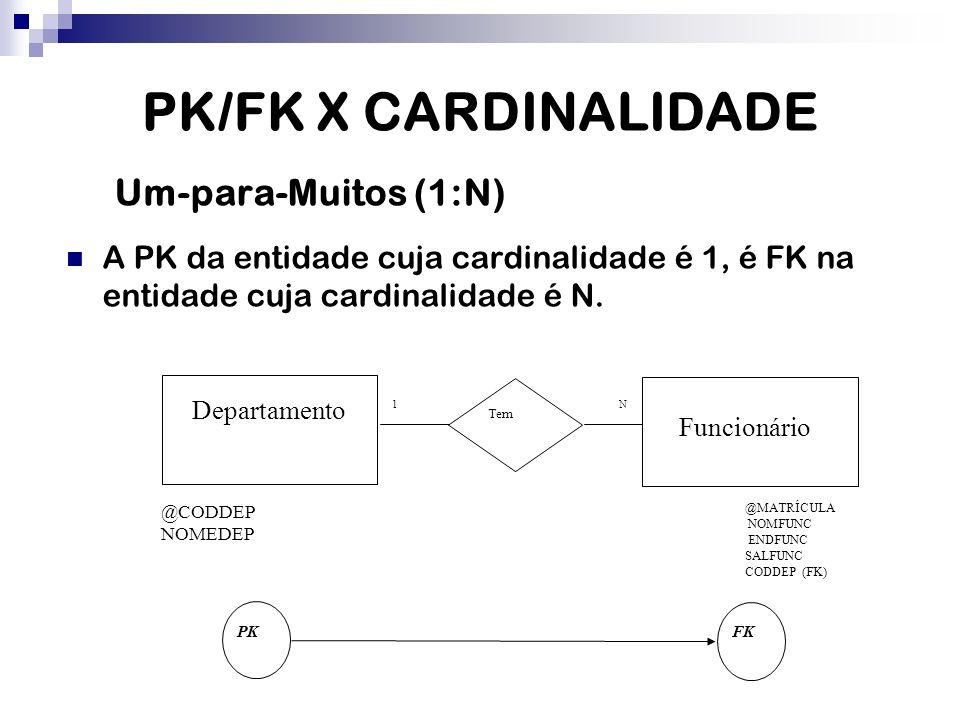 PK/FK X CARDINALIDADE Um-para-Muitos (1:N)