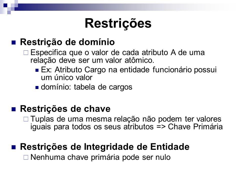Restrições Restrição de domínio Restrições de chave