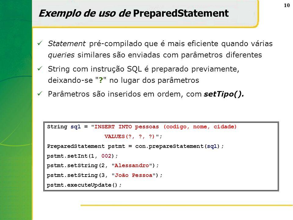 Exemplo de uso de PreparedStatement