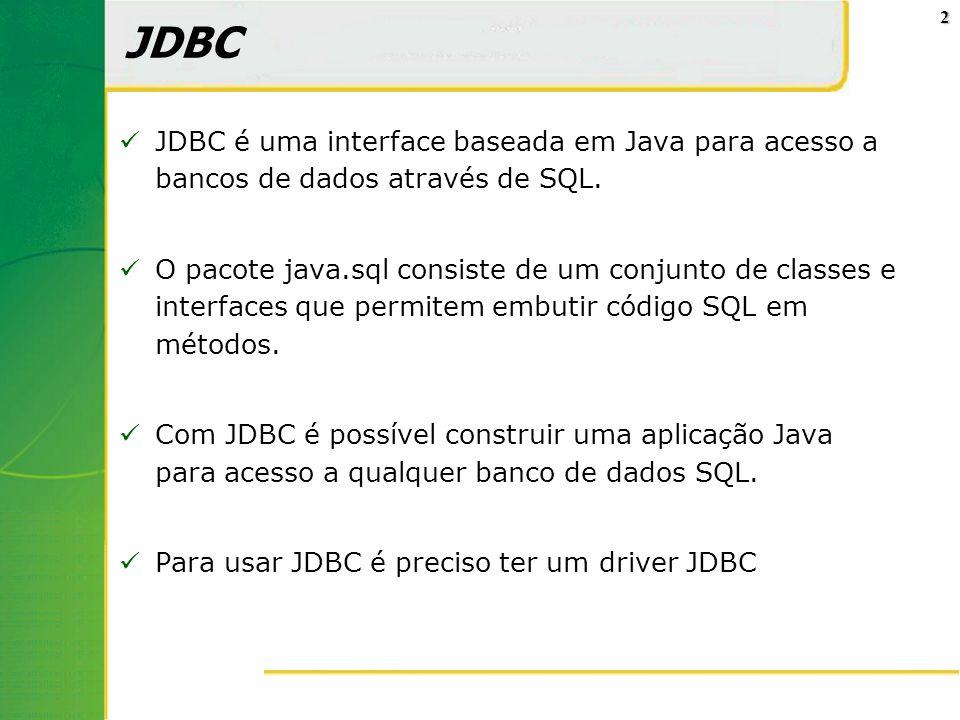 JDBC JDBC é uma interface baseada em Java para acesso a bancos de dados através de SQL.