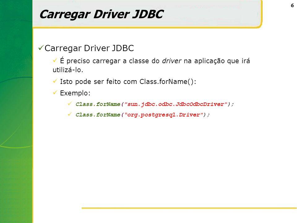Carregar Driver JDBC Carregar Driver JDBC