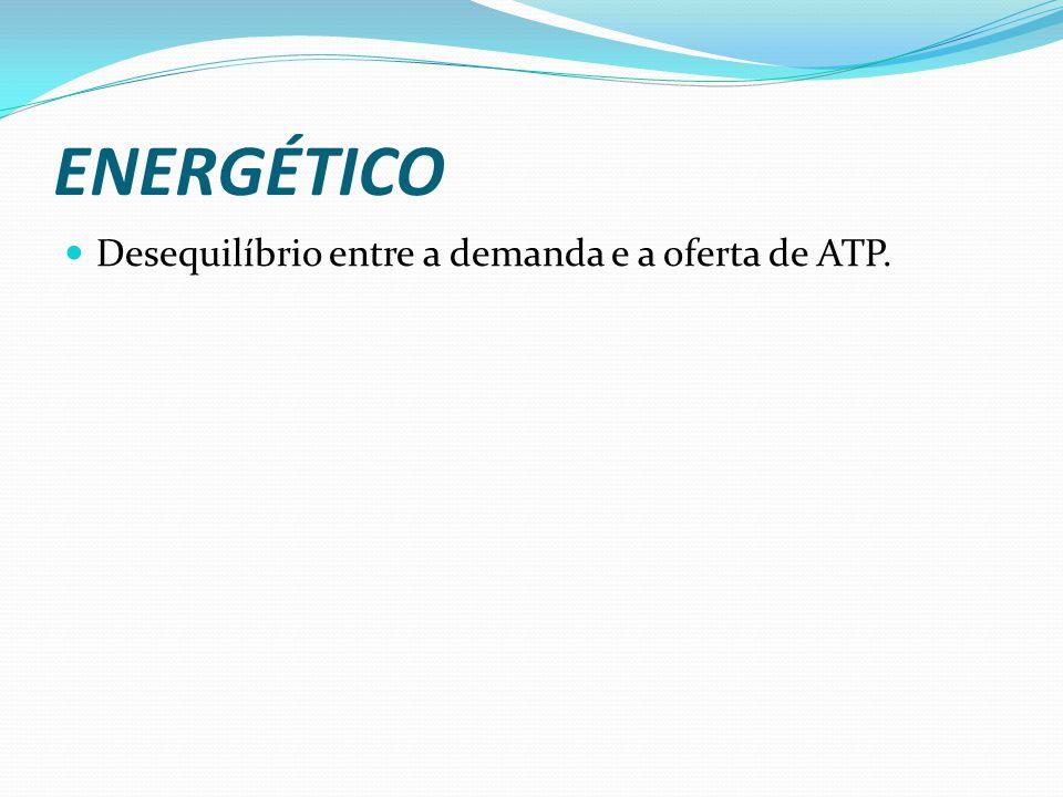 ENERGÉTICO Desequilíbrio entre a demanda e a oferta de ATP.
