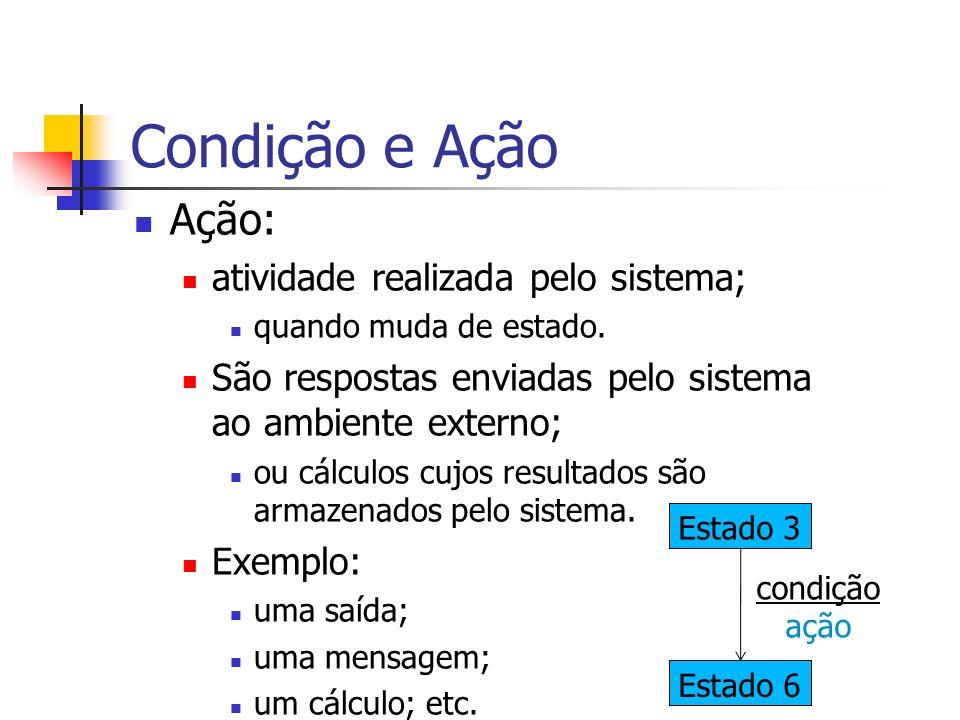 Condição e Ação Ação: atividade realizada pelo sistema;