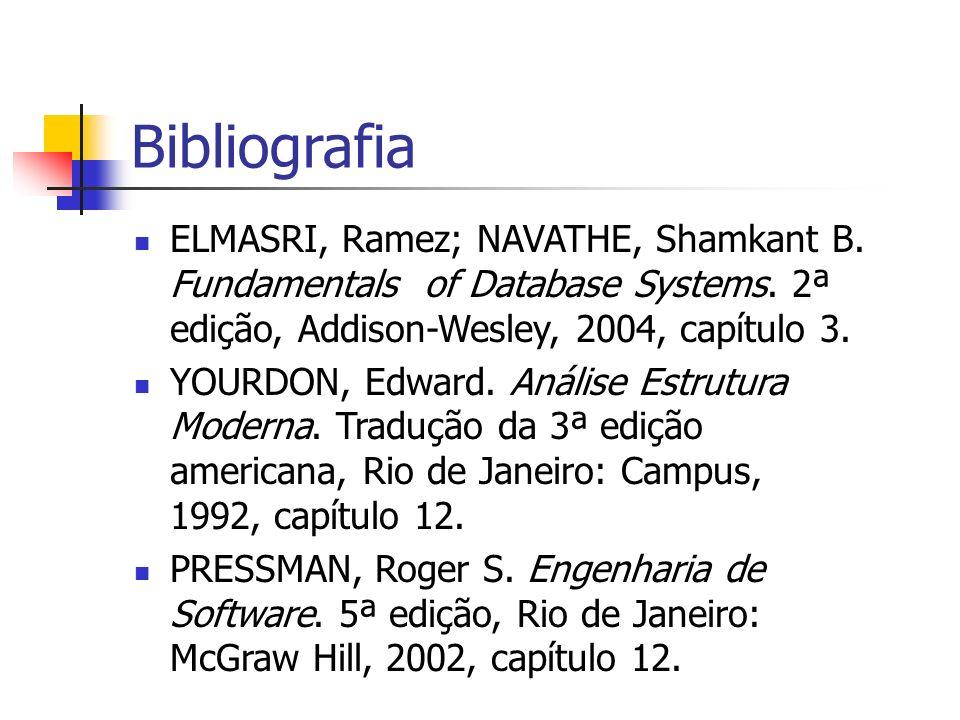 Bibliografia ELMASRI, Ramez; NAVATHE, Shamkant B. Fundamentals of Database Systems. 2ª edição, Addison-Wesley, 2004, capítulo 3.