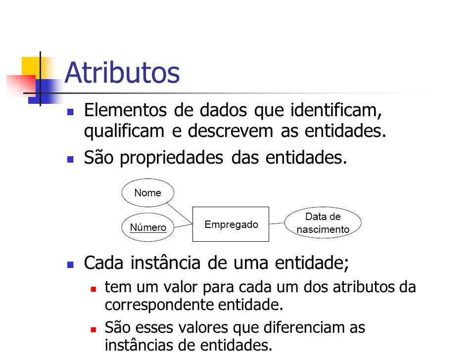 Atributos Elementos de dados que identificam, qualificam e descrevem as entidades. São propriedades das entidades.
