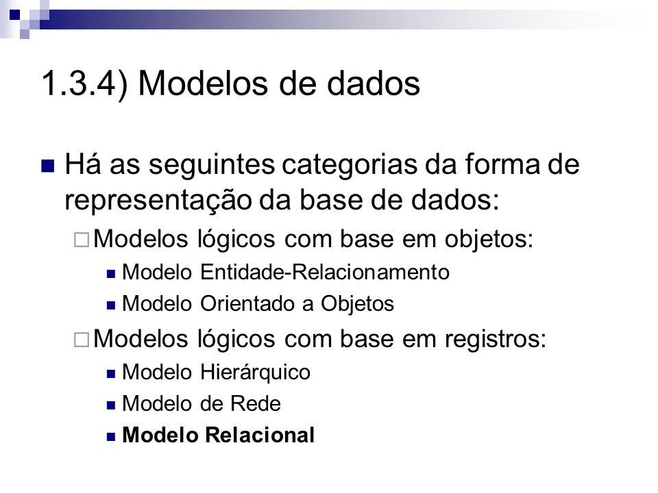 1.3.4) Modelos de dadosHá as seguintes categorias da forma de representação da base de dados: Modelos lógicos com base em objetos: