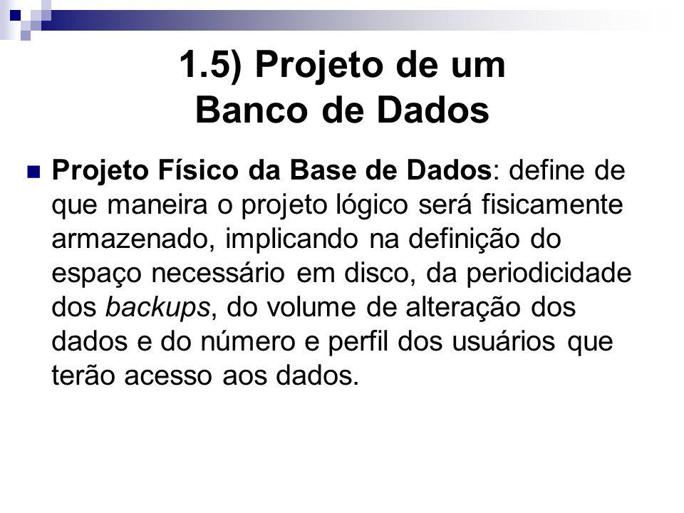 1.5) Projeto de um Banco de Dados