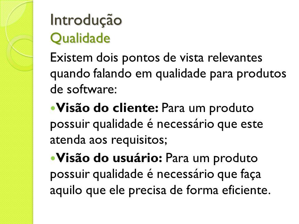 Introdução Qualidade Existem dois pontos de vista relevantes quando falando em qualidade para produtos de software: