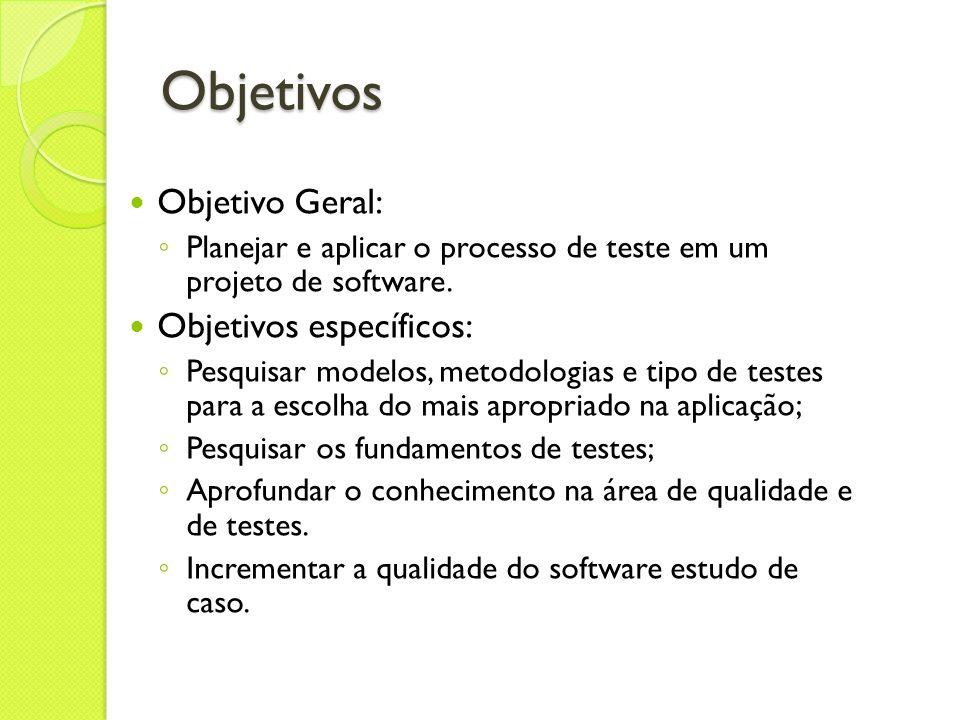 Objetivos Objetivo Geral: Objetivos específicos: