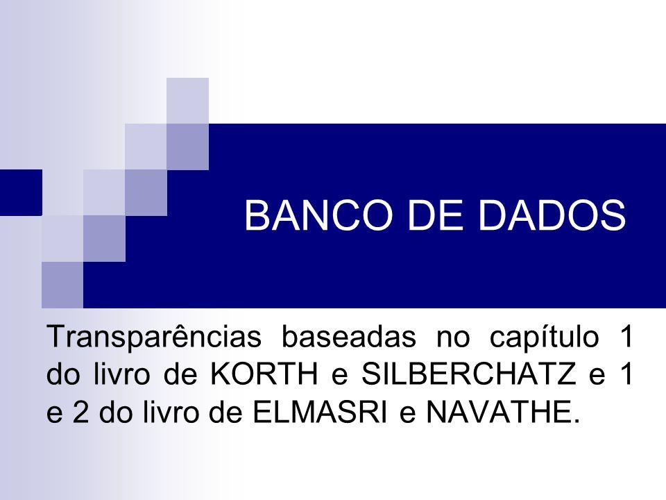 BANCO DE DADOS Transparências baseadas no capítulo 1 do livro de KORTH e SILBERCHATZ e 1 e 2 do livro de ELMASRI e NAVATHE.