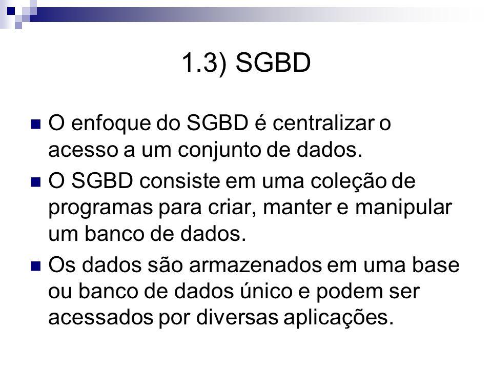 1.3) SGBDO enfoque do SGBD é centralizar o acesso a um conjunto de dados.