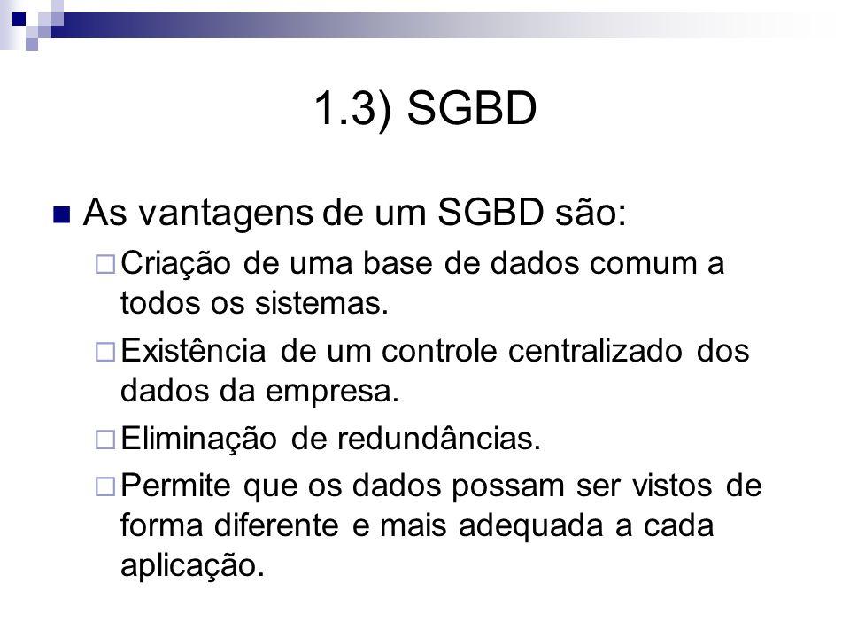 1.3) SGBD As vantagens de um SGBD são: