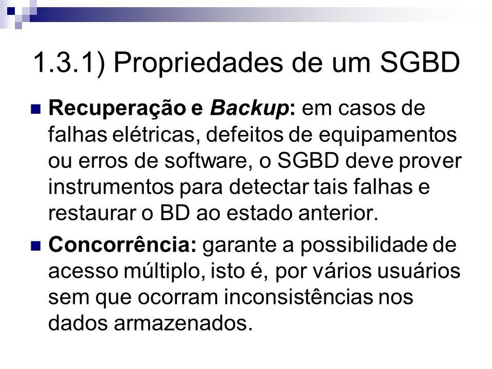 1.3.1) Propriedades de um SGBD