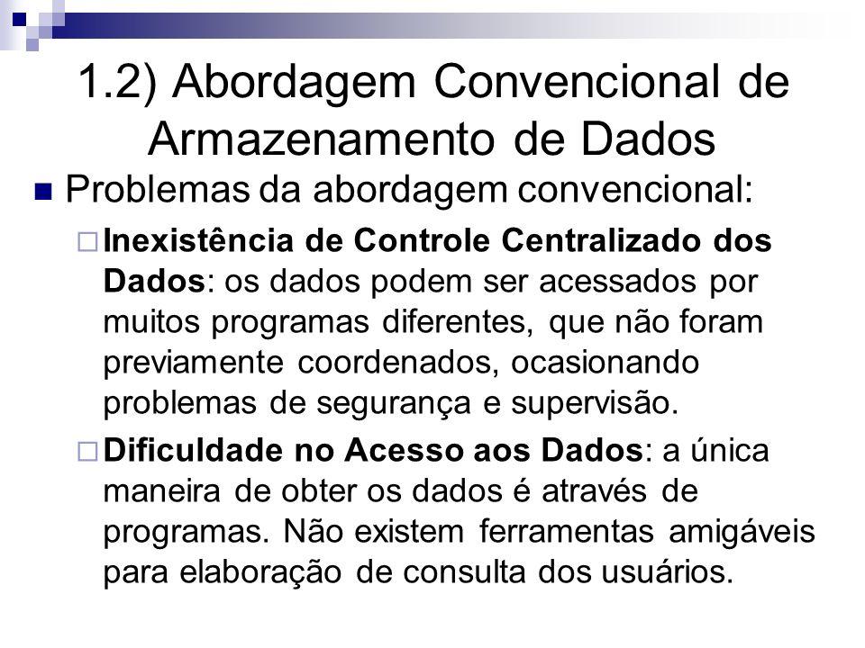 1.2) Abordagem Convencional de Armazenamento de Dados