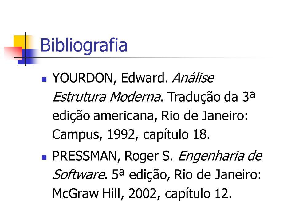 Bibliografia YOURDON, Edward. Análise Estrutura Moderna. Tradução da 3ª edição americana, Rio de Janeiro: Campus, 1992, capítulo 18.