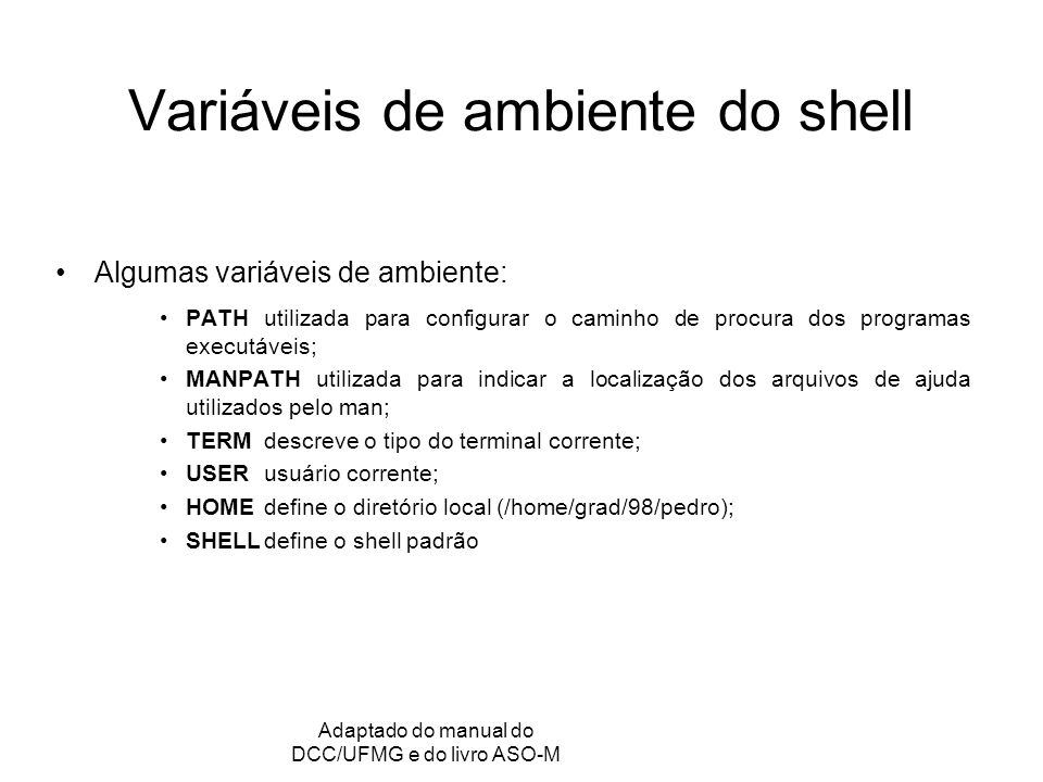 Variáveis de ambiente do shell