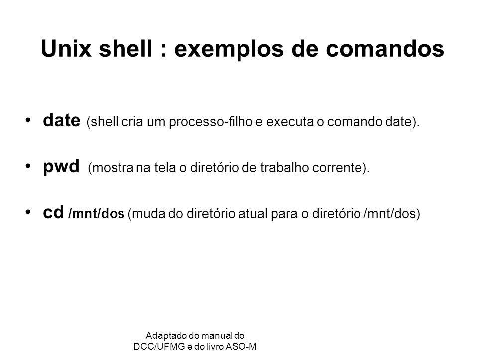 Unix shell : exemplos de comandos