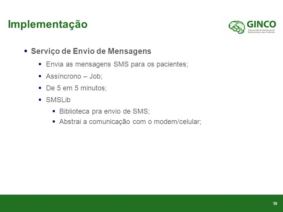 Implementação Serviço de Envio de Mensagens