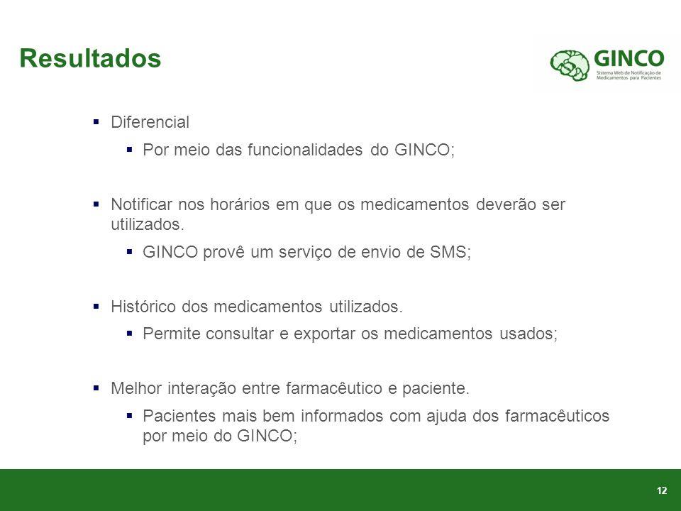 Resultados Diferencial Por meio das funcionalidades do GINCO;