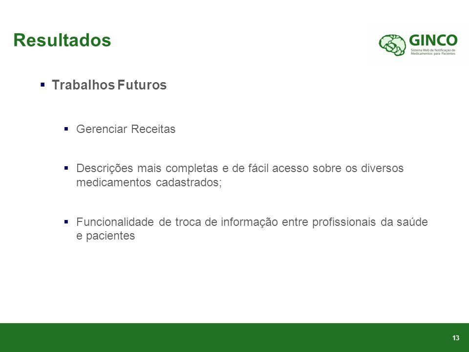 Resultados Trabalhos Futuros Gerenciar Receitas
