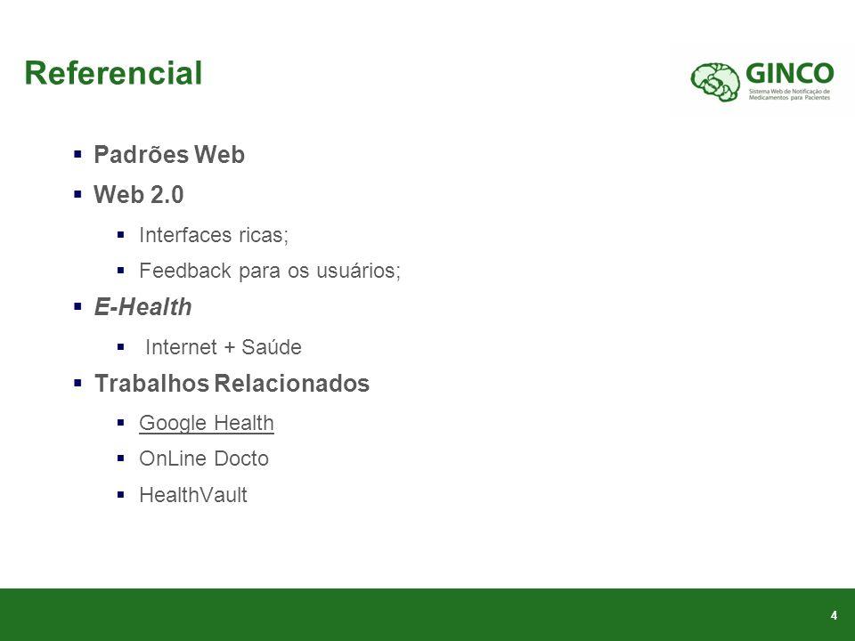 Referencial Padrões Web Web 2.0 E-Health Trabalhos Relacionados