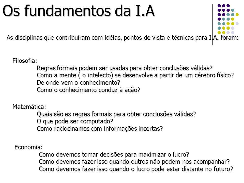 Os fundamentos da I.A As disciplinas que contribuíram com idéias, pontos de vista e técnicas para I.A. foram: