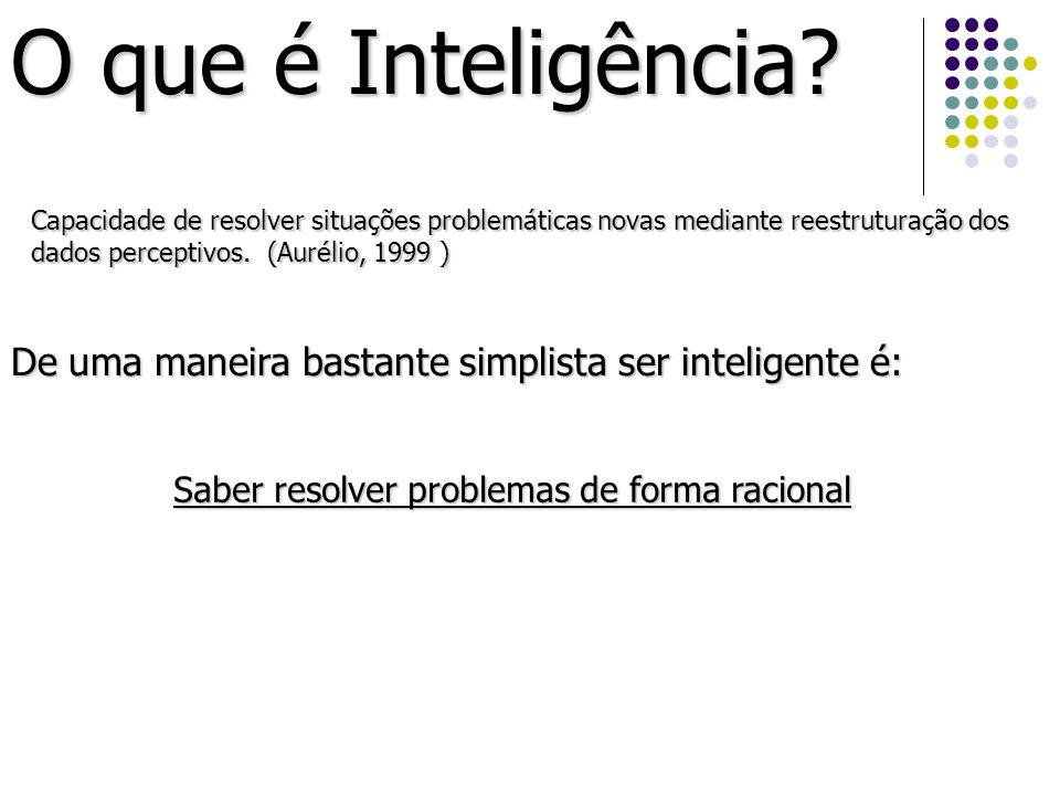 O que é Inteligência Capacidade de resolver situações problemáticas novas mediante reestruturação dos dados perceptivos. (Aurélio, 1999 )