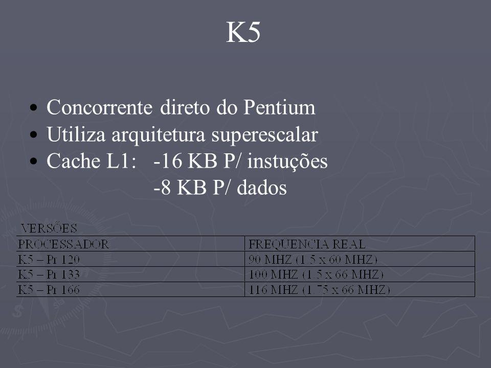 K5 Concorrente direto do Pentium Utiliza arquitetura superescalar