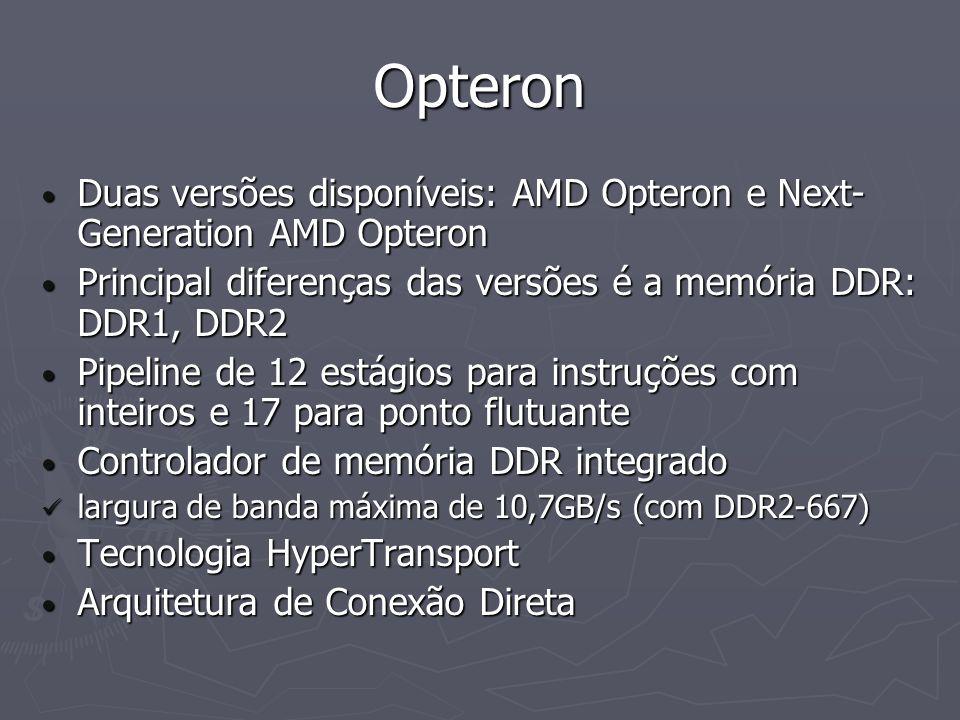 Opteron Duas versões disponíveis: AMD Opteron e Next-Generation AMD Opteron. Principal diferenças das versões é a memória DDR: DDR1, DDR2.