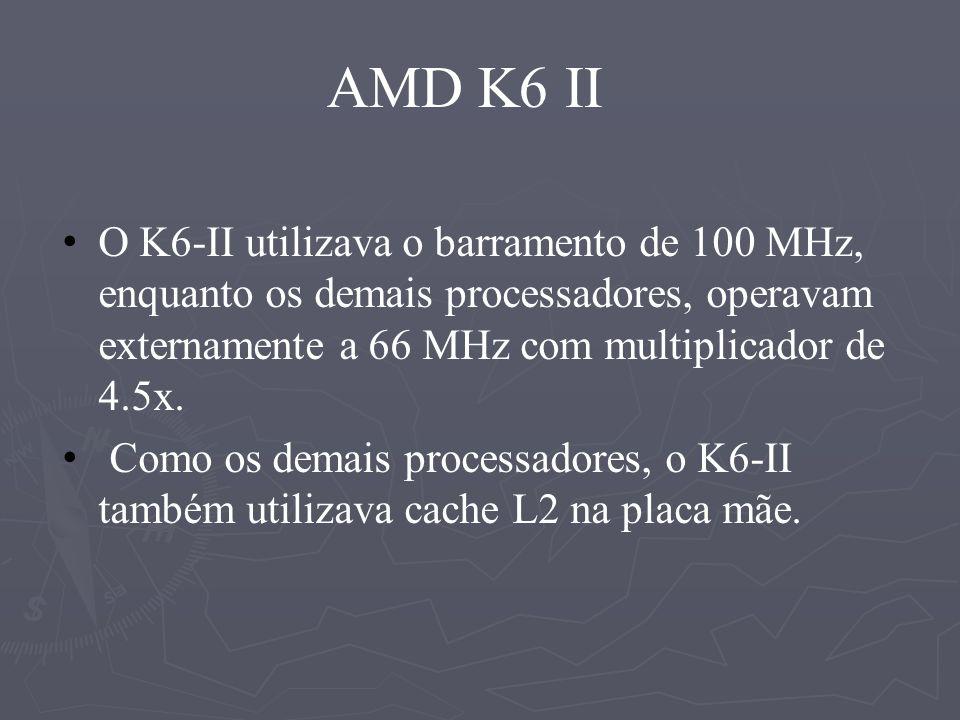 AMD K6 II O K6-II utilizava o barramento de 100 MHz, enquanto os demais processadores, operavam externamente a 66 MHz com multiplicador de 4.5x.