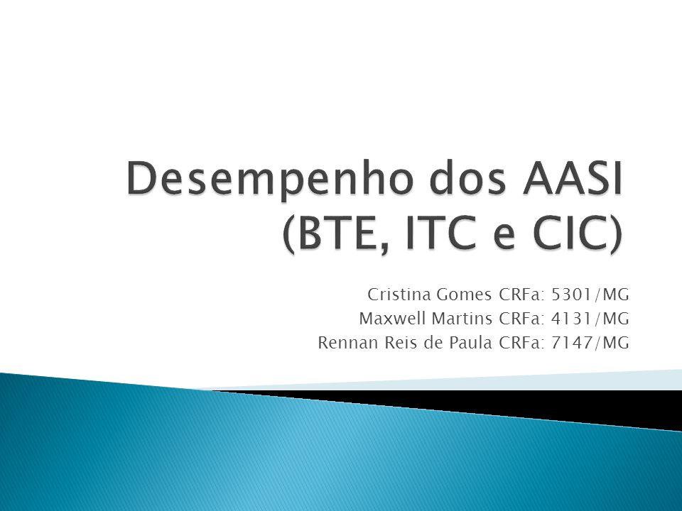 Desempenho dos AASI (BTE, ITC e CIC)