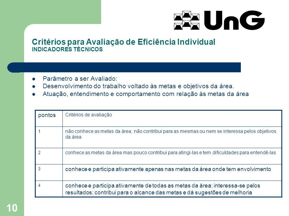 Critérios para Avaliação de Eficiência Individual INDICADORES TÉCNICOS