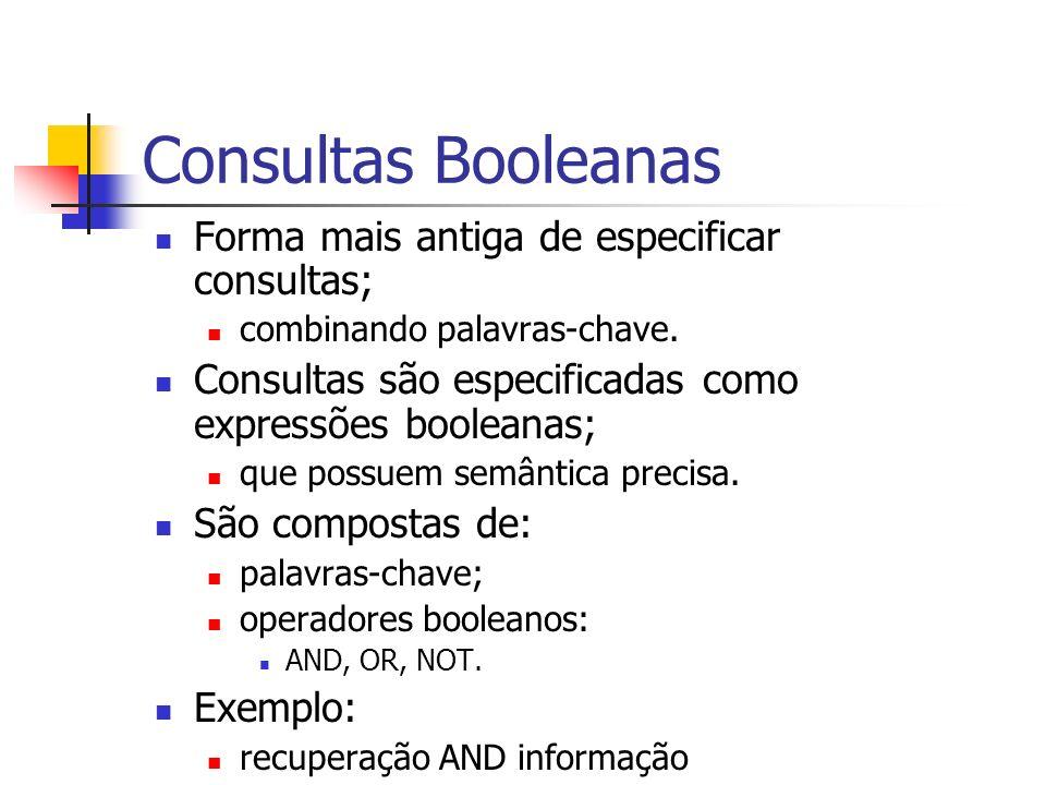 Consultas Booleanas Forma mais antiga de especificar consultas;