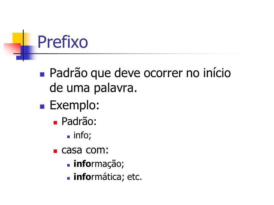Prefixo Padrão que deve ocorrer no início de uma palavra. Exemplo: