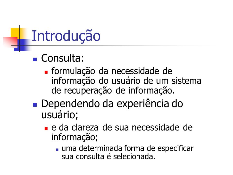 Introdução Consulta: Dependendo da experiência do usuário;