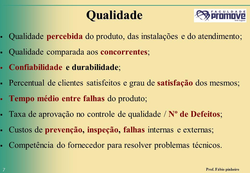 Qualidade Qualidade percebida do produto, das instalações e do atendimento; Qualidade comparada aos concorrentes;
