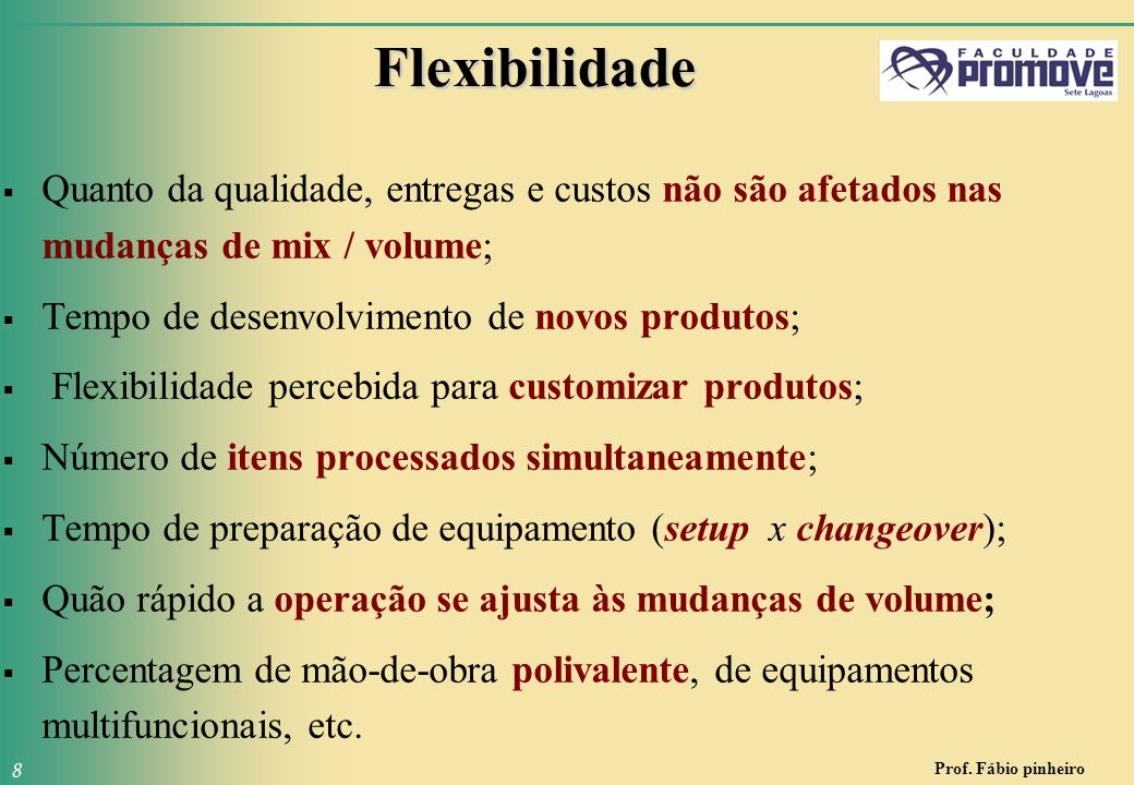 Flexibilidade Quanto da qualidade, entregas e custos não são afetados nas mudanças de mix / volume;