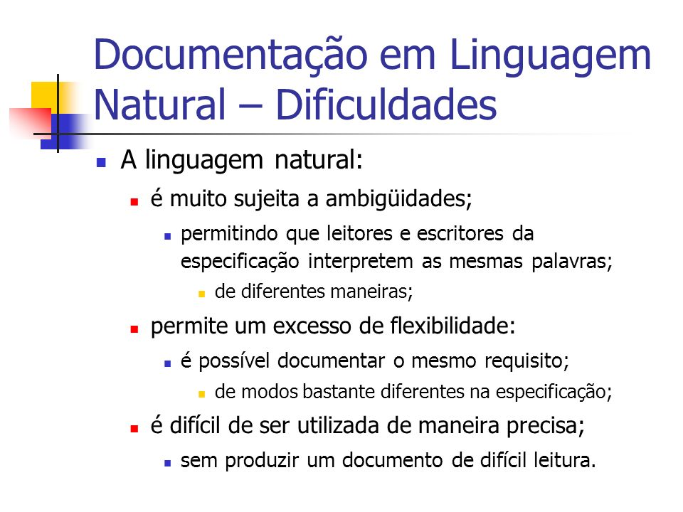 Documentação em Linguagem Natural – Dificuldades
