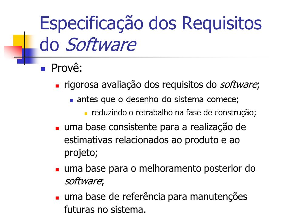 Especificação dos Requisitos do Software