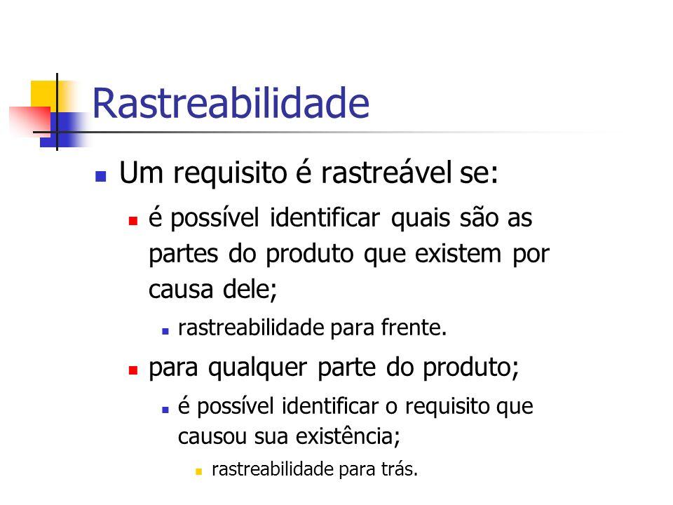 Rastreabilidade Um requisito é rastreável se: