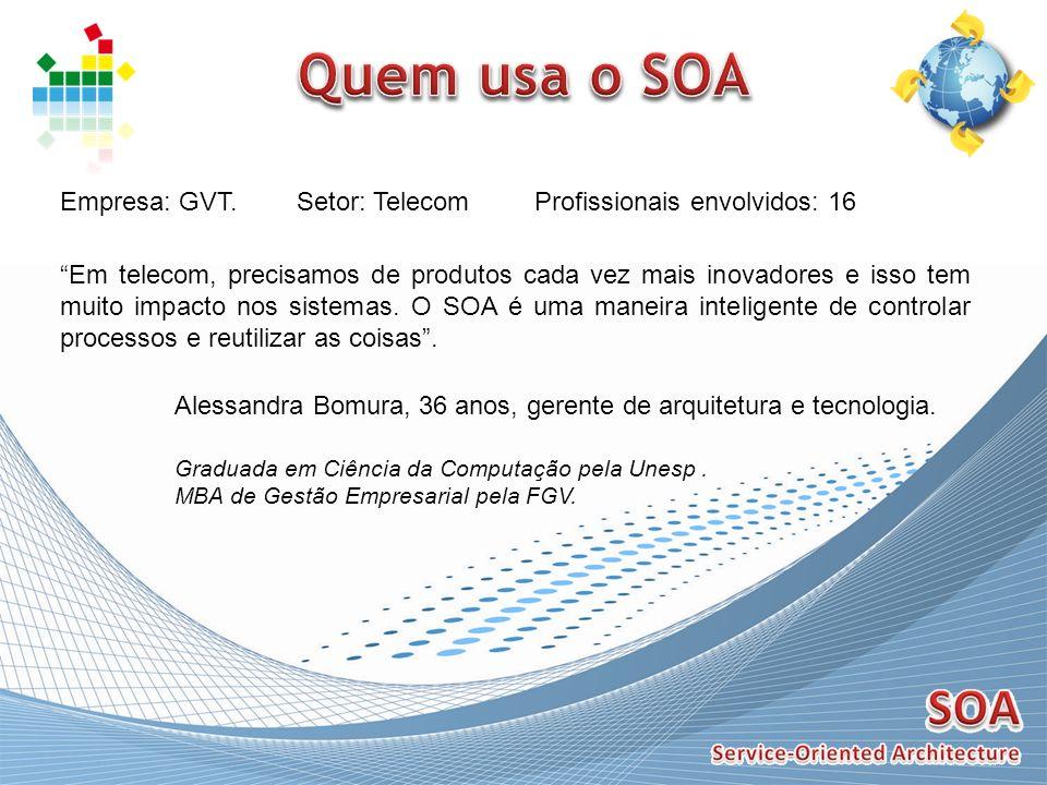 Quem usa o SOA Empresa: GVT. Setor: Telecom