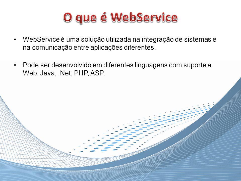 O que é WebService WebService é uma solução utilizada na integração de sistemas e na comunicação entre aplicações diferentes.