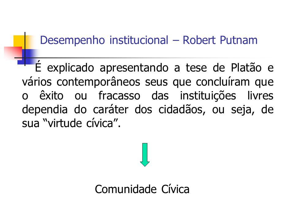 Desempenho institucional – Robert Putnam
