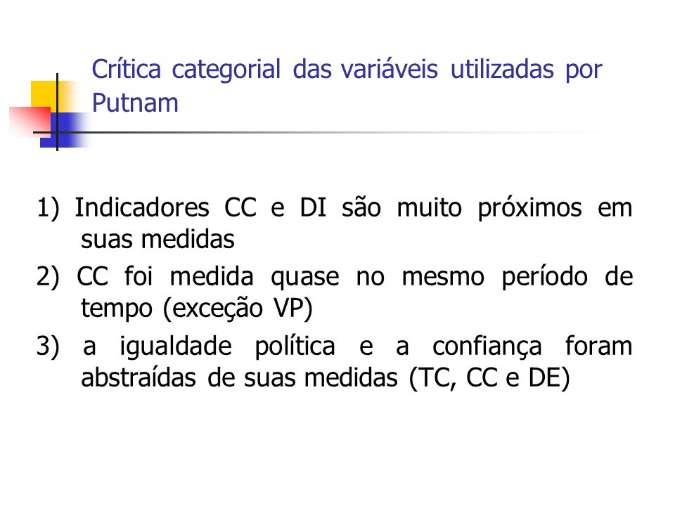 Crítica categorial das variáveis utilizadas por Putnam