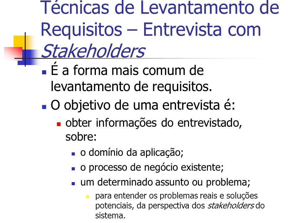 Técnicas de Levantamento de Requisitos – Entrevista com Stakeholders