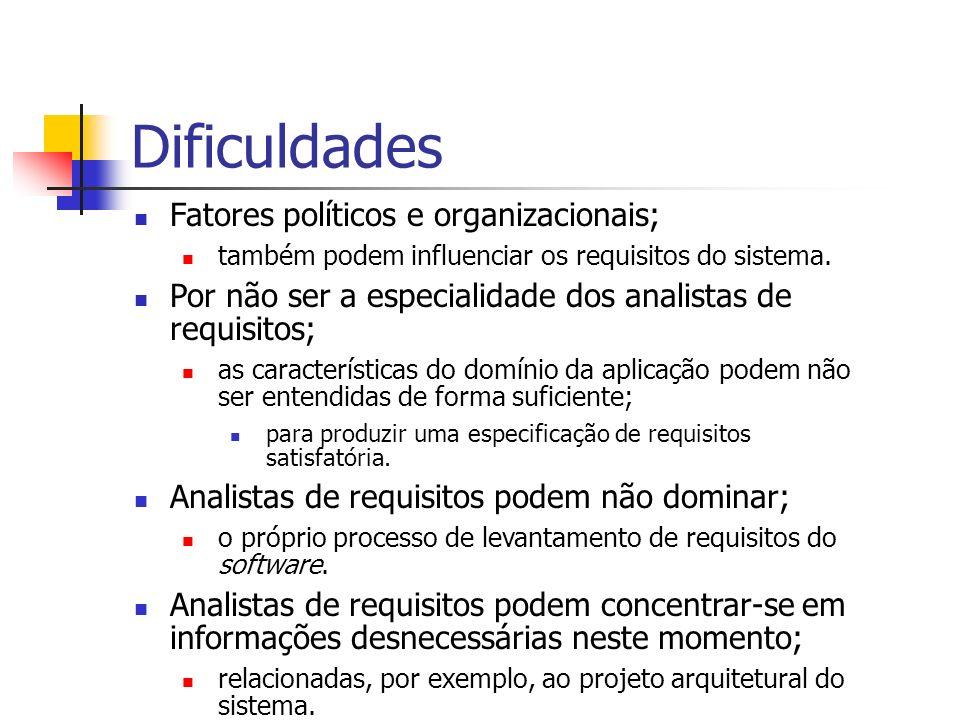 Dificuldades Fatores políticos e organizacionais;