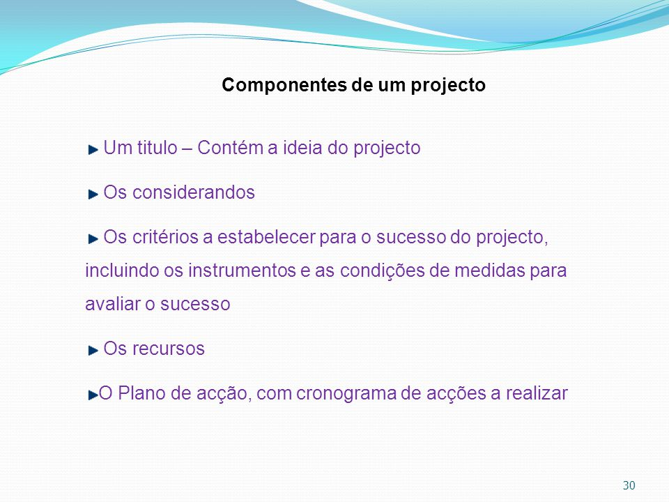 Componentes de um projecto