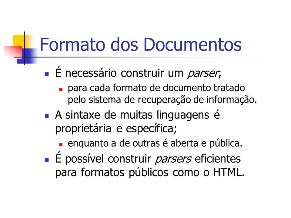 Formato dos Documentos
